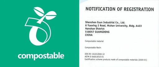 eSUN biodegradable polycaprolactone obtain EUR DIN certification