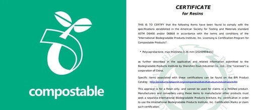 Congratulations to eSUN Biodegradable Material Polycaprolactone (PCL) for obtaining U.S. biodegradability certification!